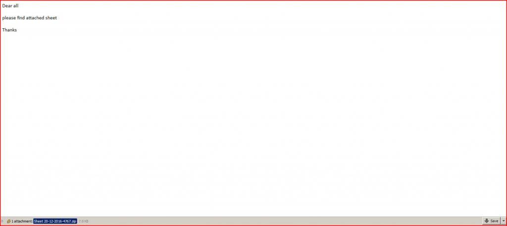 Sheet Malware Email