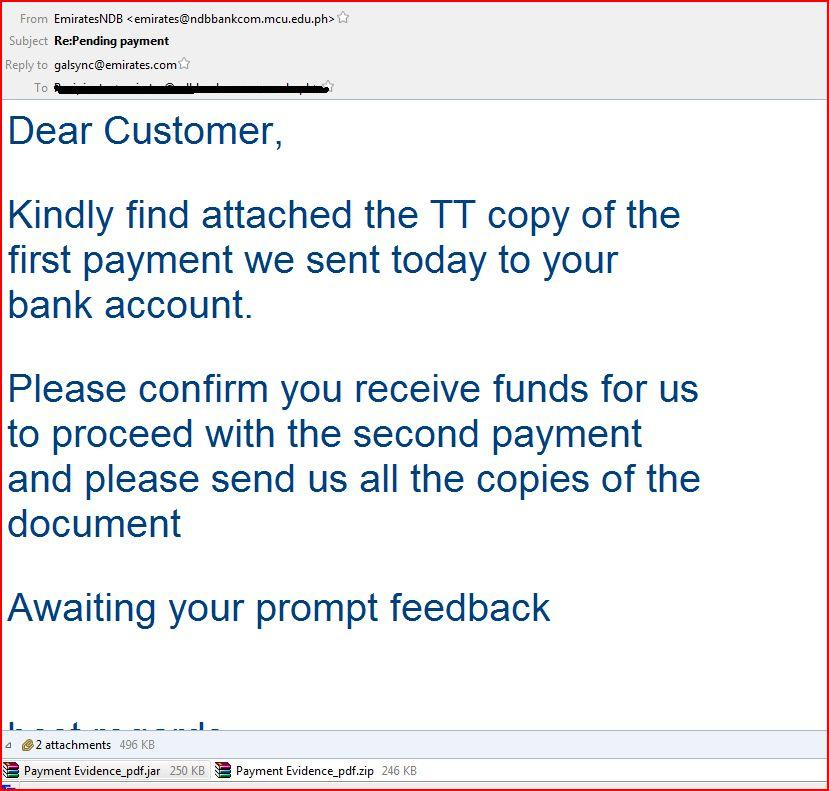 Pending Payment Malware Email