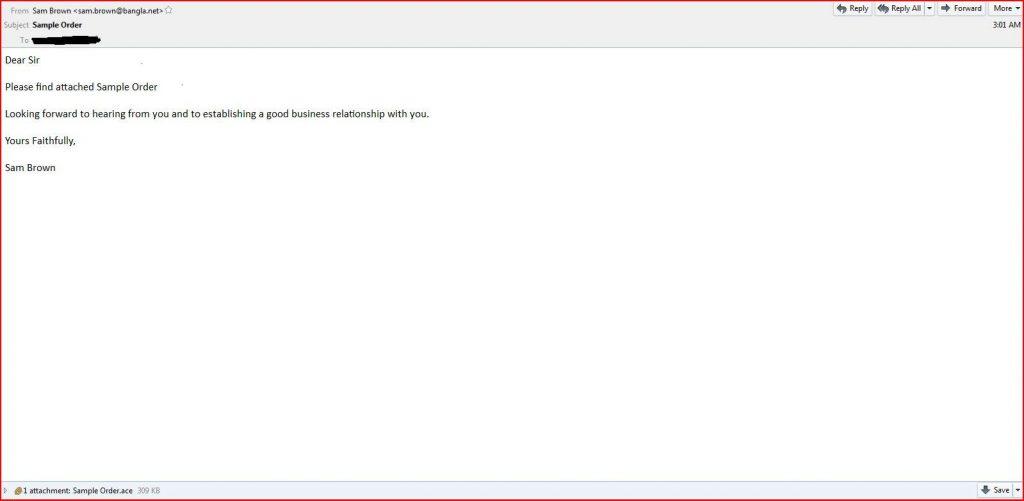 Sample Order Malware Email