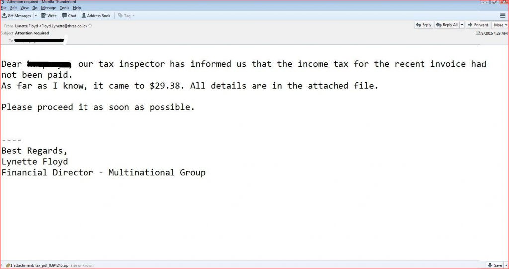 income tax malware email