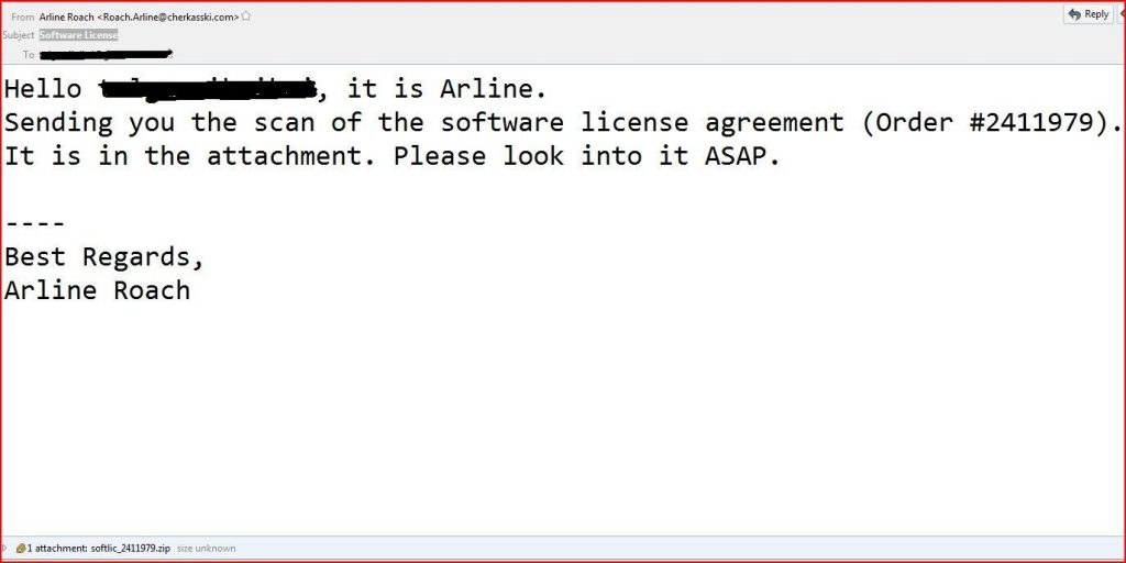 software license malware email