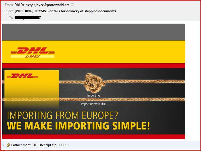 DHL Receipt Malware Email