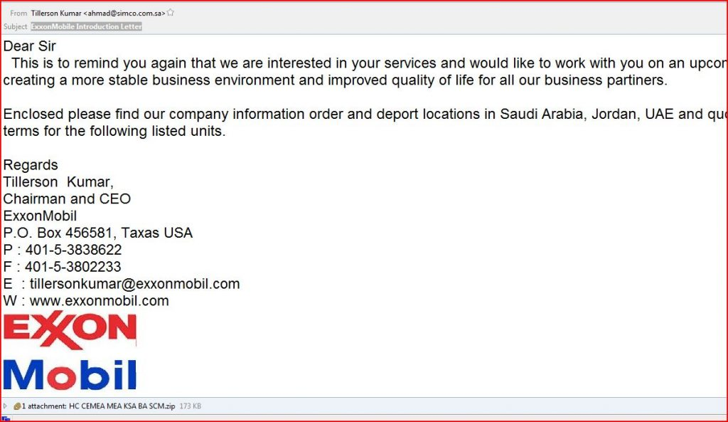 Exxon Mobil Malware Email