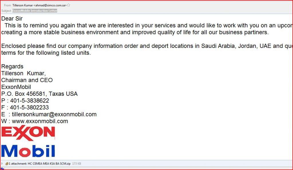 Comodo Threat Research Labs Exxon Mobil Malware | Phishing