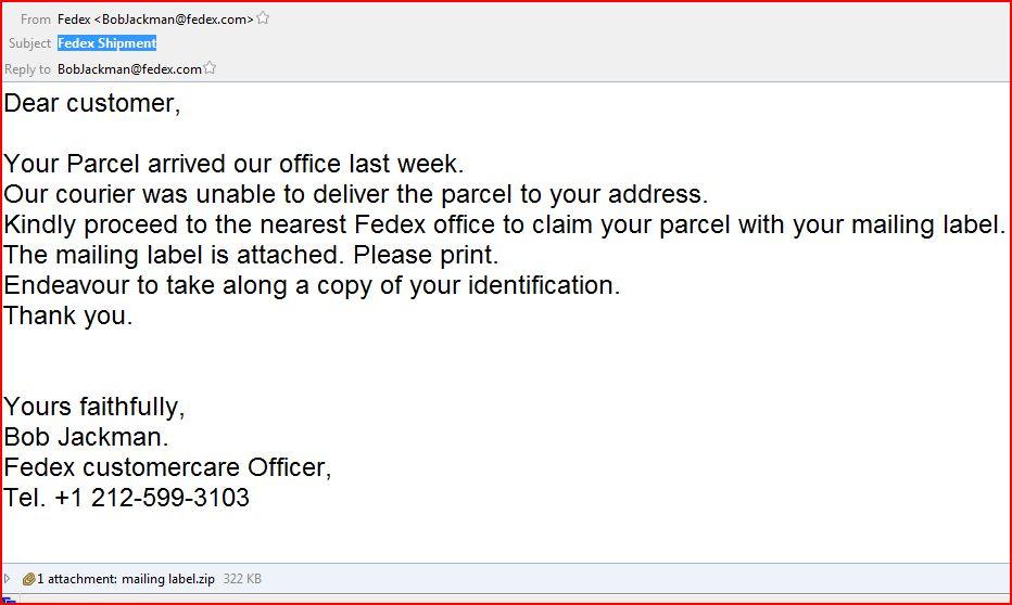 fedex shipment malware email
